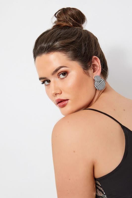 Plus Size Jewelry Black & White Check Disc Earrings