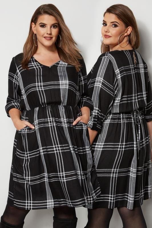 Plus Size Midi Dresses Black & White Check Dress