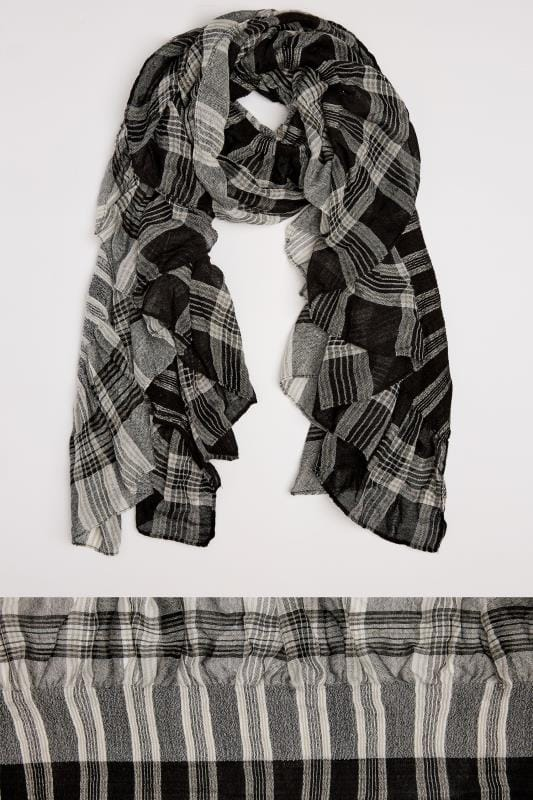 Plus Size Scarves Black & White Check Elasticated Ruffle Scarf