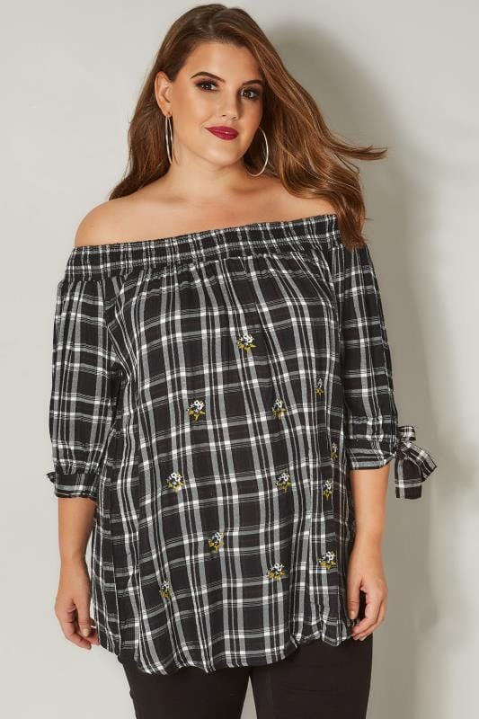 Plus Size Bardot & Cold Shoulder Tops Black & White Check Embroidered Bardot Top