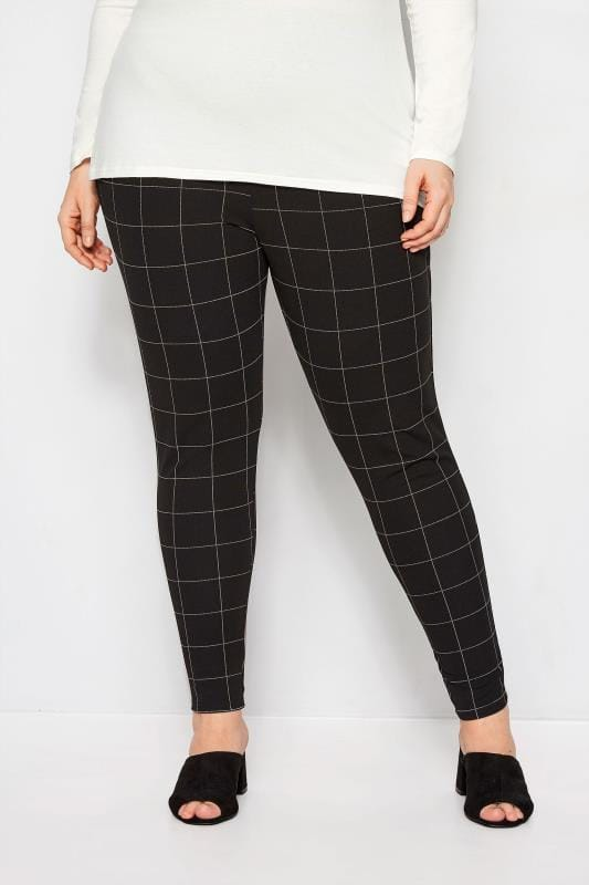 Plus Size Harem Pants Black & White Check Treggings
