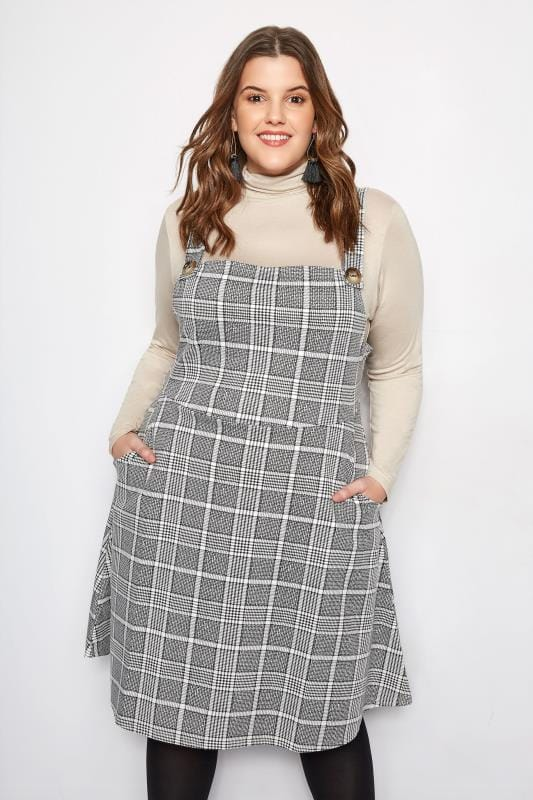 Plus Size Black White Check Pinafore Dress Sizes 16 To 36