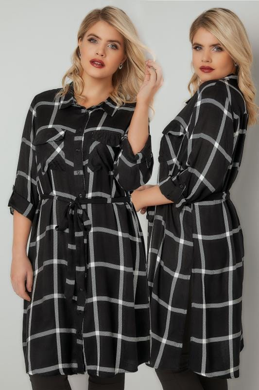 Blouses & Shirts Black & White Checked Longline Shirt With Tie Waist 130222