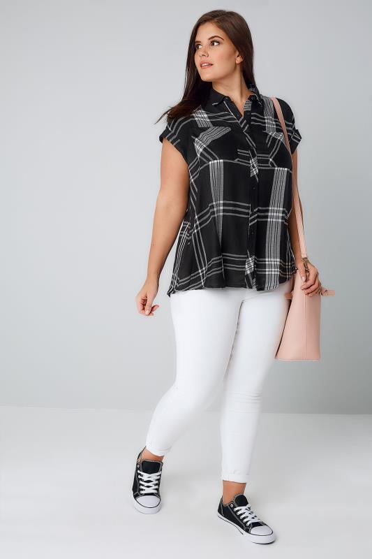 Black & White Checked Mono Shirt With Chest Pockets