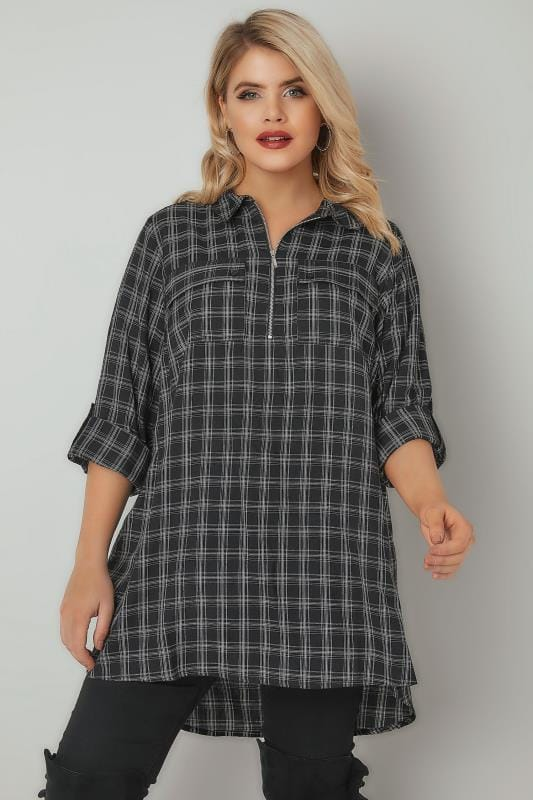 Black & White Checked Shirt With Metallic Thread & Zip Front