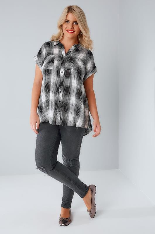 Black & White Checked Shirt With Short Grown-On Sleeves & Metallic Detail