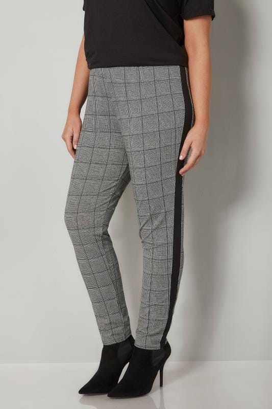 Plus Size Tapered & Slim Fit Trousers LIMITED COLLECTION Black & White Checked Tapered Trousers With Side Stripe