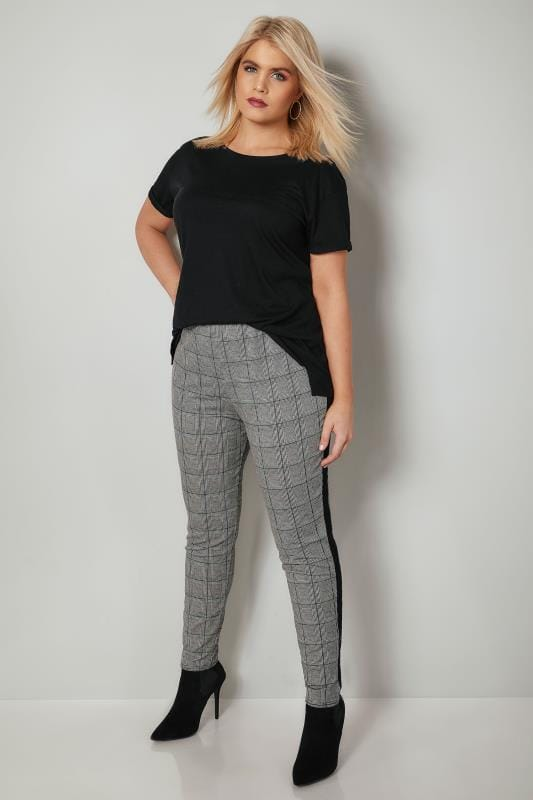 LIMITED COLLECTION Black & White Check Tapered Trousers With Side Stripe
