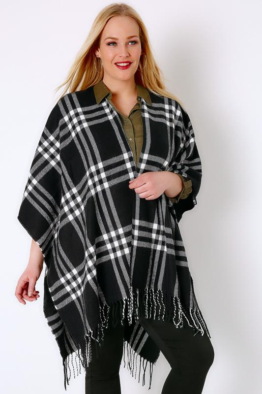 Plus Size Wraps & Capes Black & White Checked Woven Wrap With Fringing