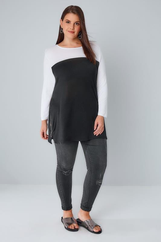 Black & White Colour Block Jersey Top With Zip Sides