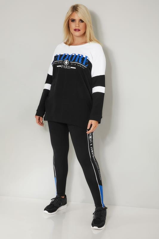 Black & White Colour Block Leggings With Slogan Trim
