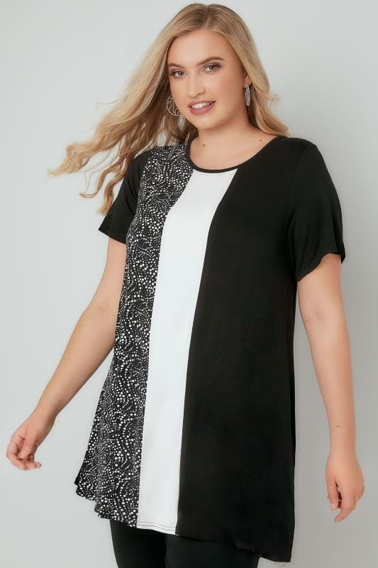 Black & White Colour Block Longline Swing Top With Dotty Print Panel