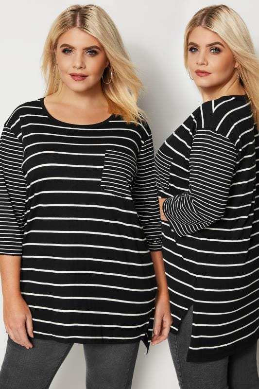 Black & White Contrast Stripe T-Shirt