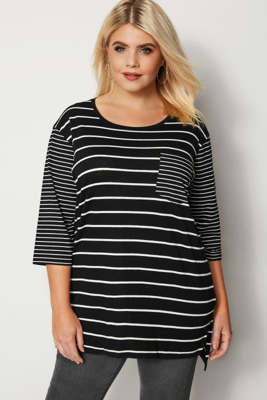 Plus Size T-Shirts Black & White Contrast Stripe T-Shirt