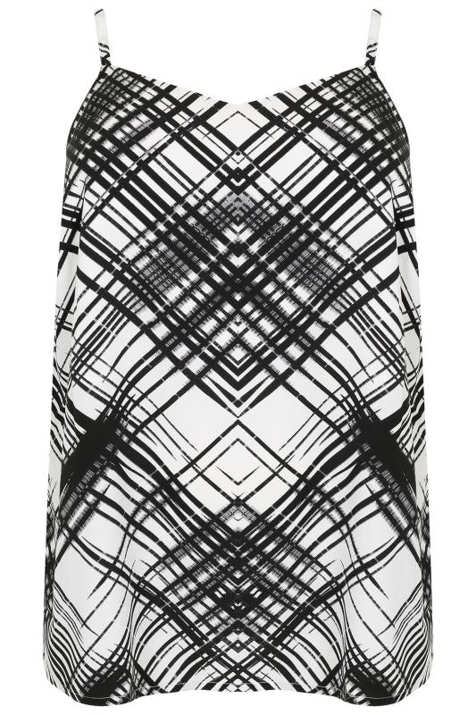 Black Amp White Cross Hatch Print Cami Top Plus Size 16 To 36