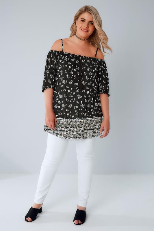 Black & White Ditsy Floral Cold Shoulder Jersey Top With Tassel Tie Front