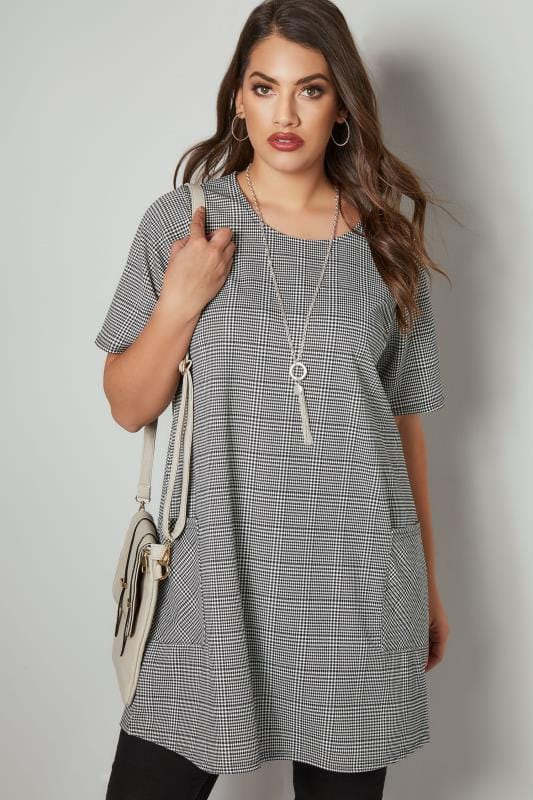 Plus Size Tunic Dresses Black & White Dog Tooth Checked Tunic Dress With Front Pockets