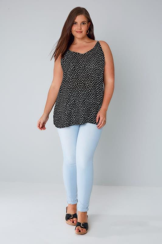 YOURS LONDON Black & White Dotty Print Cami Top