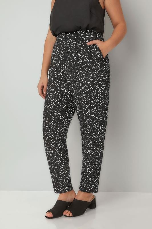 Plus Size Harem Trousers Black & White Dotty Print Jersey Harem Trousers