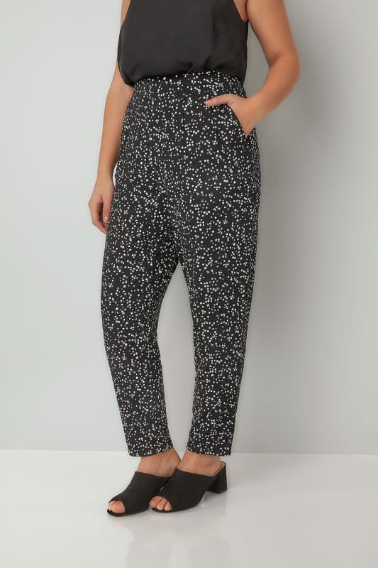 Black & White Dotty Print Jersey Harem Trousers With Pockets