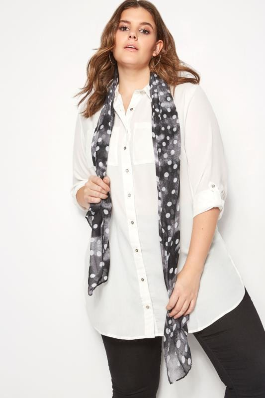Plus Size Scarves Black & White Faded Polka Dot Print Scarf