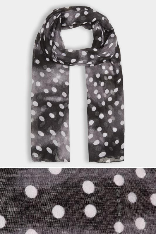 Black & White Faded Polka Dot Print Scarf