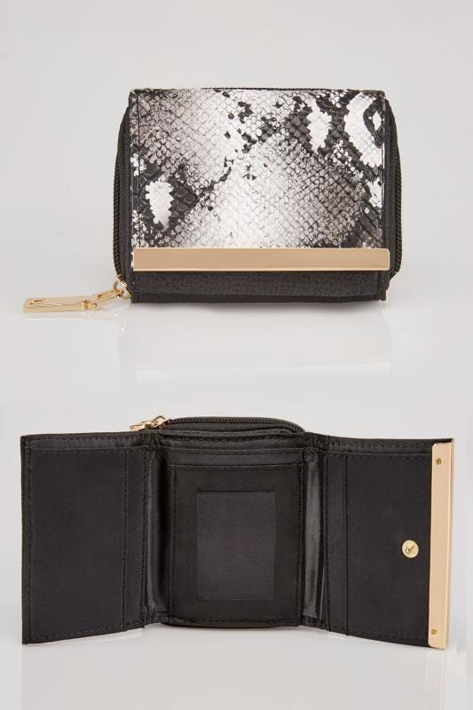 Black & White Faux Snakeskin Small Purse With Metal Trim Detail
