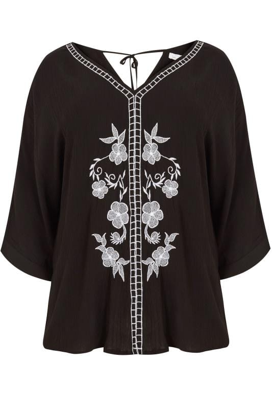 Black & White Floral Embroidered Top With Rear Tie Fastening