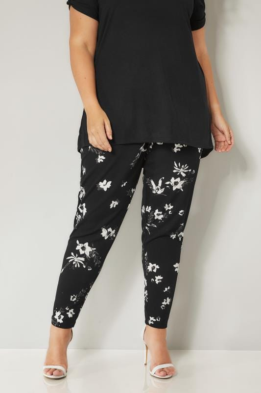 Plus Size Harem Pants Black & White Floral Harem Trousers