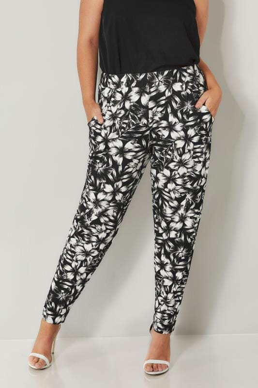 Plus Size Harem Trousers Black & White Floral Harem Trousers