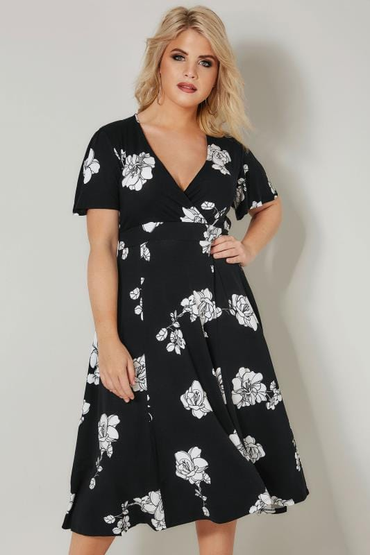 Black & White Floral Jersey Wrap Dress With Waist Tie