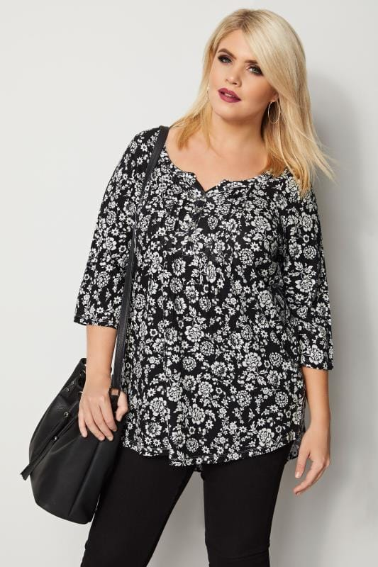 Plus Size Day Tops Black & White Floral Pintuck Jersey Top
