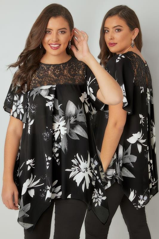 Blouses & Shirts Black & White Floral Print Blouse With Lace Sequin Yoke 130190