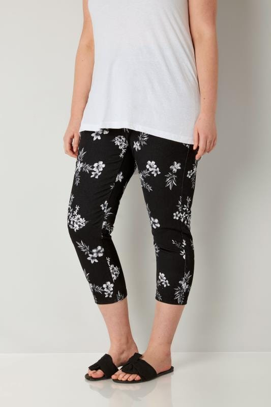 Plus Size Cropped Jeans Black & White Floral Print Cropped JENNY Jeggings