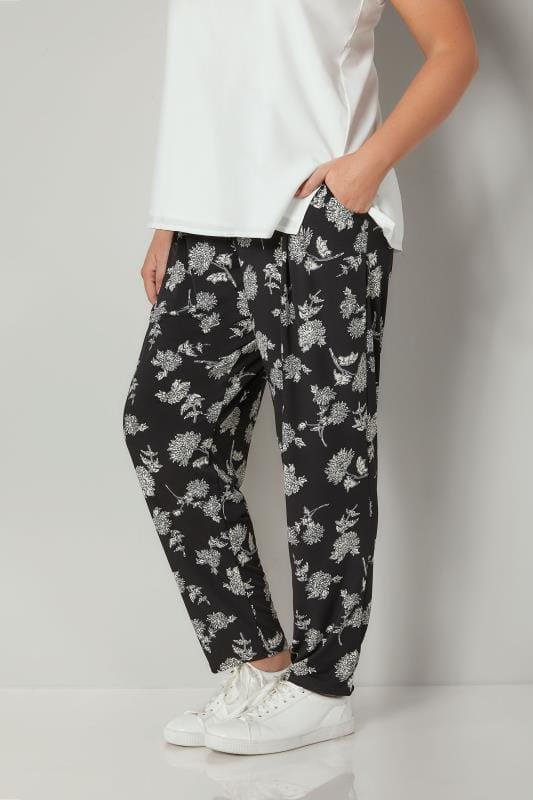 Plus Size Harem Pants Black & White Floral Print Harem Trousers