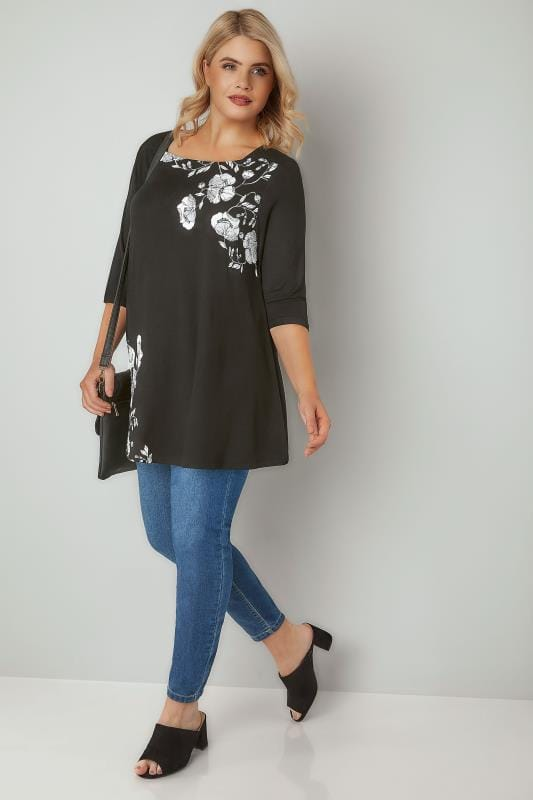 Black & White Floral Print Jersey Top With Square Neckline