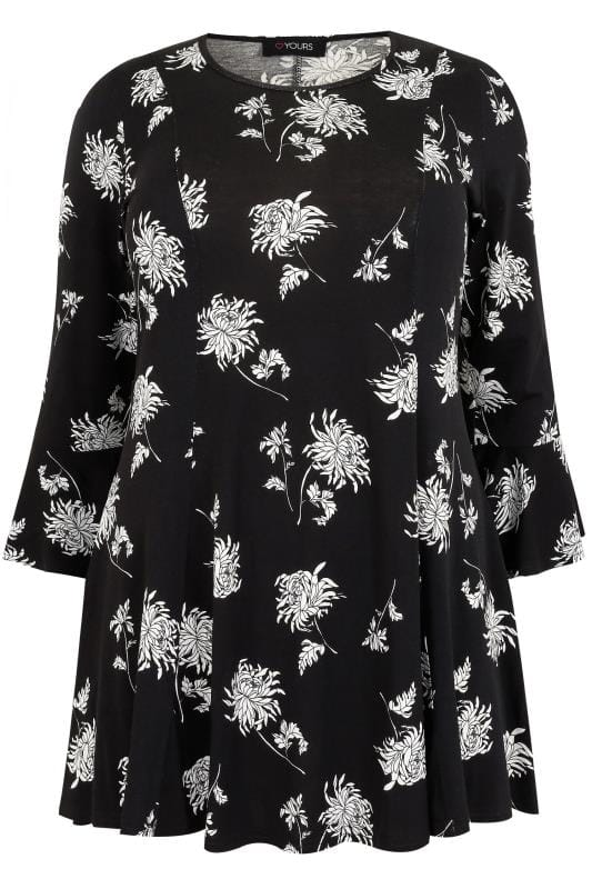 9d5194c016ac15 Black & White Floral Print Longline Peplum Top With Flute Sleeves, Plus  size 16 to 36