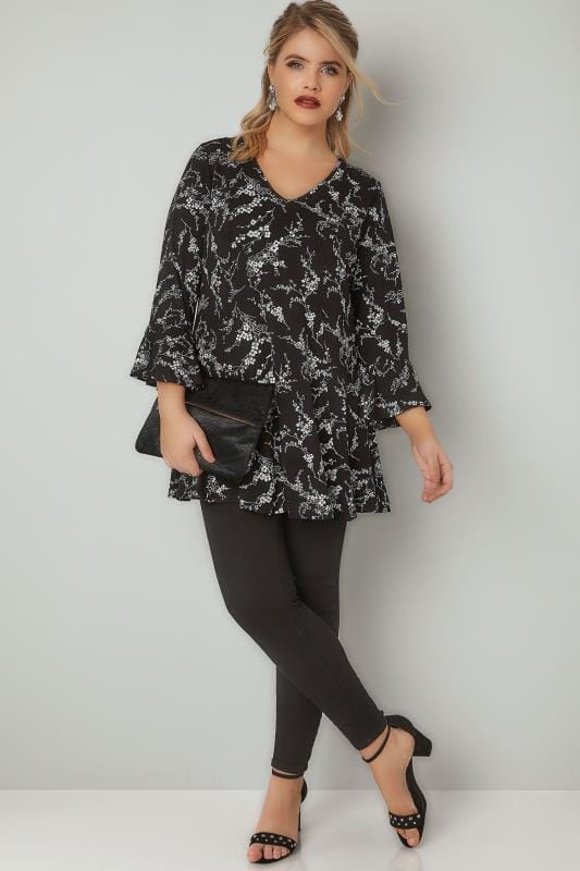 Black & White Floral Print Peplum Top With Flute Cuffs