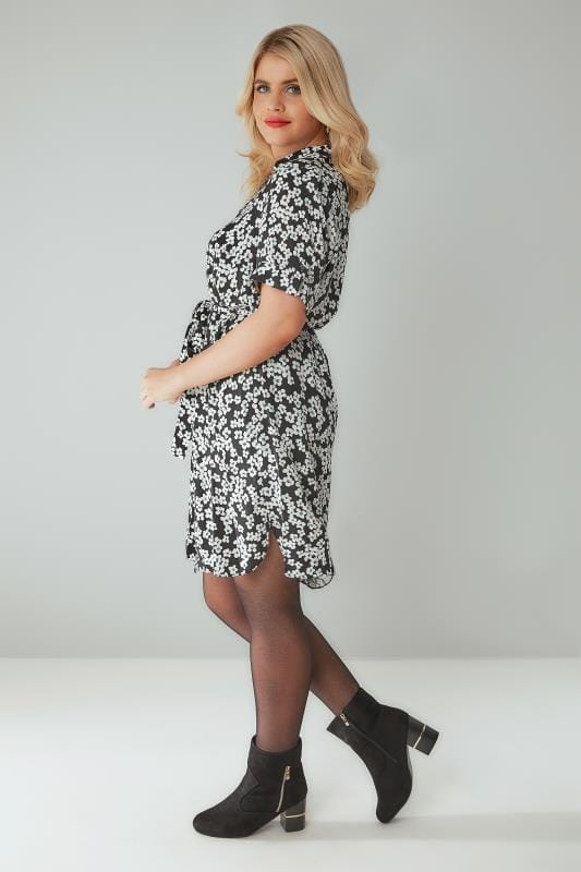Black & White Floral Print Shirt Dress With Waist Tie
