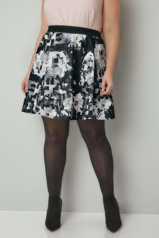 Plus Size Skater Skirts Black & White Floral Print Skater Skirt With Elasticated Waistband
