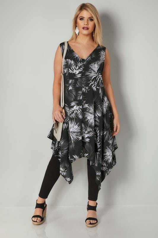 Black & White Floral Print Sleeveless Top With Cross Over Back & Hanky Hem