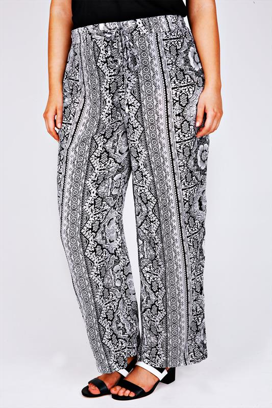 Black & White Floral Tile Print Wide Leg Trousers