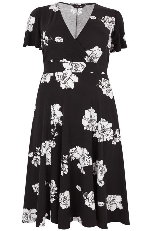 Black white floral jersey wrap dress with waist tie plus size 16 black white floral jersey wrap dress with waist tie plus size 16 to 36 mightylinksfo