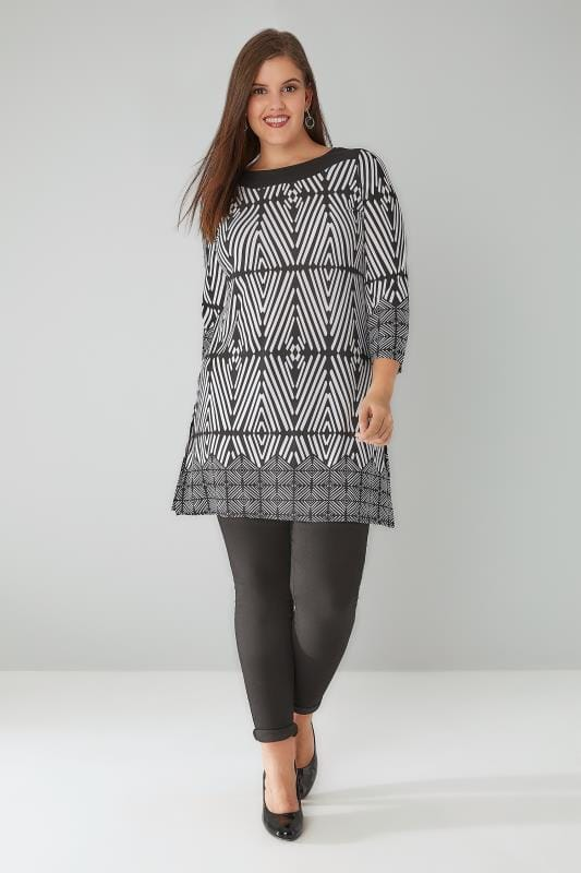 Black & White Geo Print Longline Top With 3/4 Length Sleeves