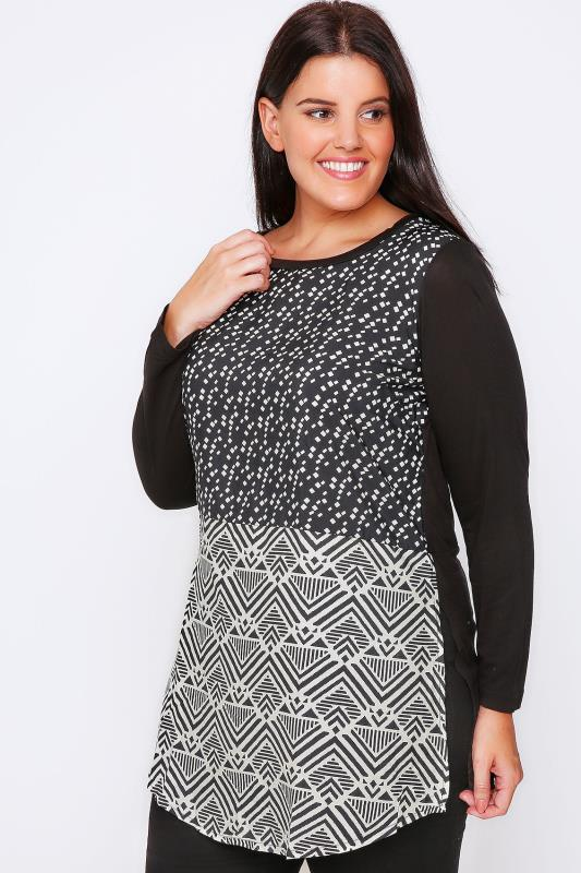 Black & White Geo Print Woven Front Top