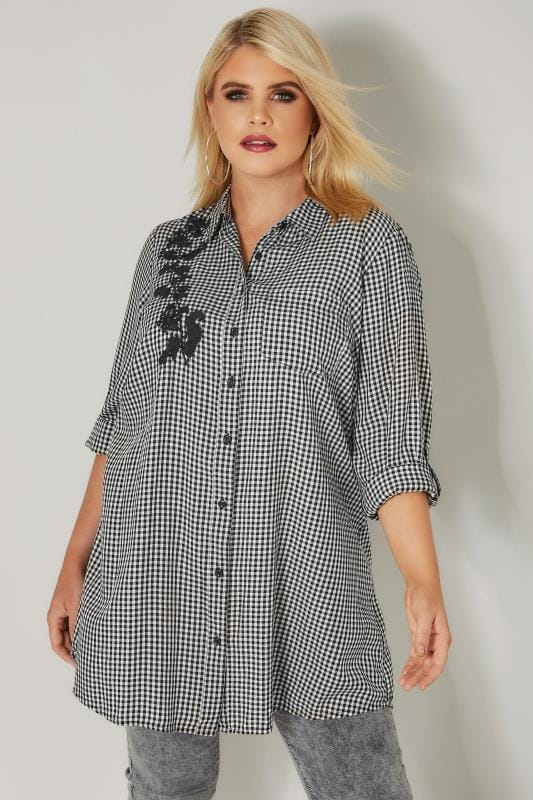 Plus Size Shirts Black & White Embroidered Gingham Boyfriend Shirt