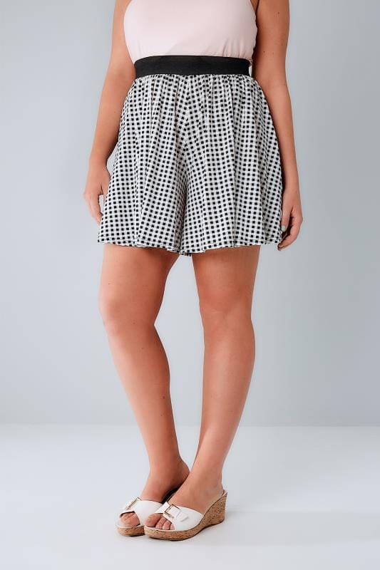Jersey Shorts Black & White Gingham Flippy Short 144068