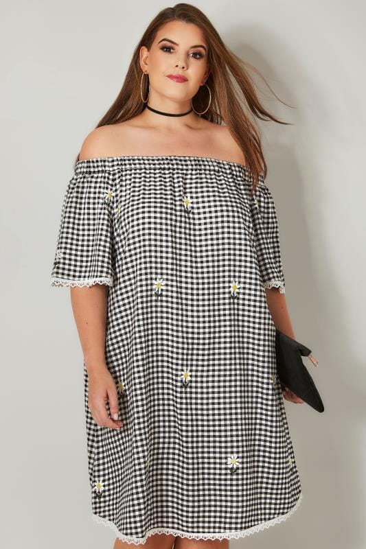 Plus Size Swing Dresses Black & White Gingham Floral Embroidered Bardot Dress