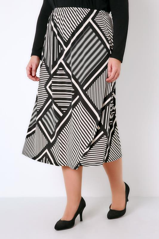 Black & White Graphic Mixed Stripe Print Jersey Midi Skirt