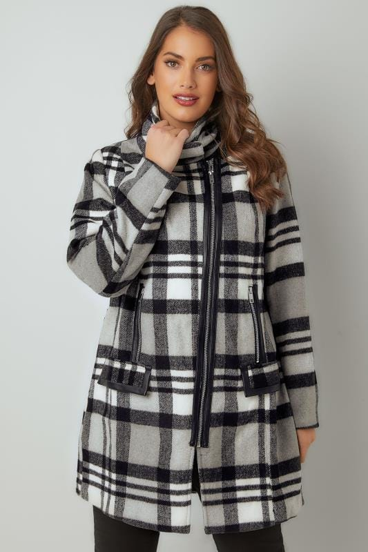 Black, White & Grey Checked Biker Style Coat With PU Trim